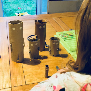 Cardboard tubes to make Stick Man and Family