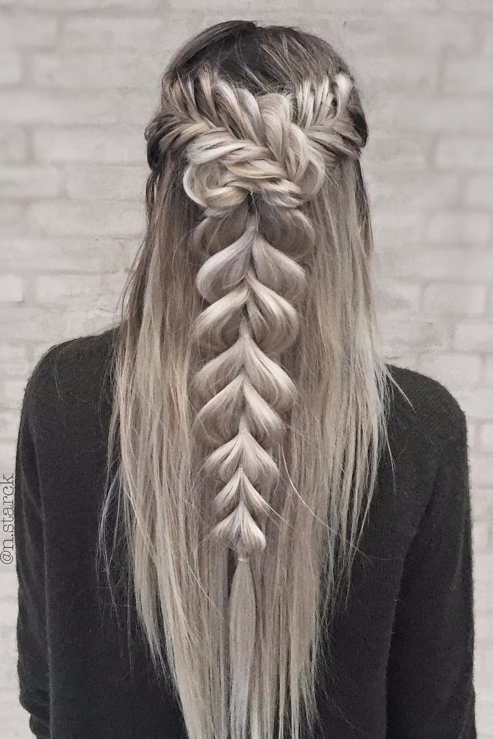 Half up Fishtail wrapped Pull-Through Braid