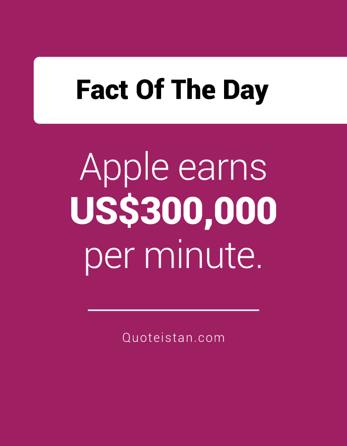 Apple earns US$300,000 per minute.