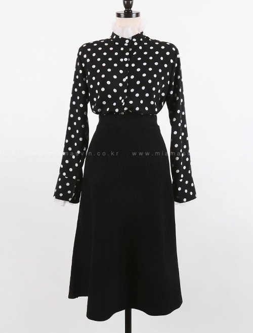 Mesh Trim Polka Dot Blouse And Midi Skirt (Set)
