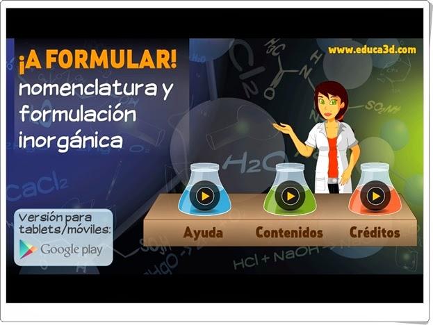 """""""¡A formular!"""" (Aplicación interactiva de Química de Secundaria)"""
