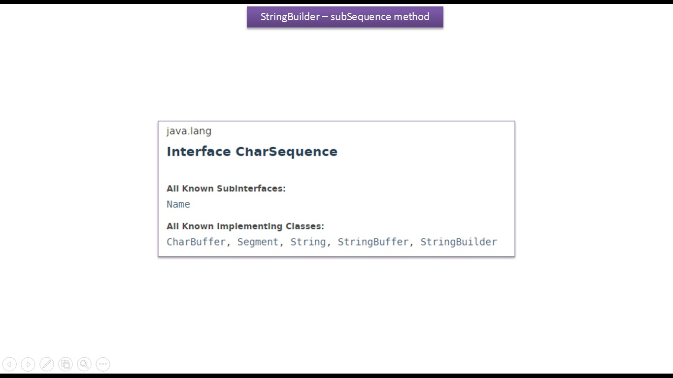 JAVA EE: Java Tutorial : Java StringBuilder [subSequence