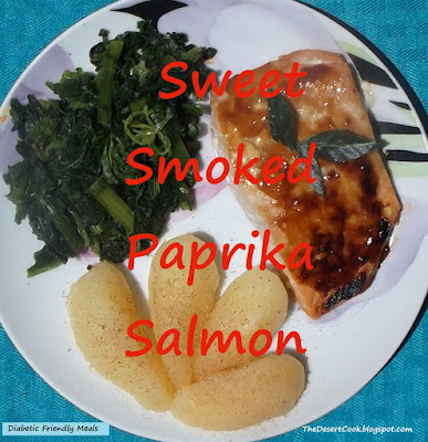 broiled salmon with sweet smoked paprika and maple syrup, sauteed spinach and pear slices photo by candy dorsey