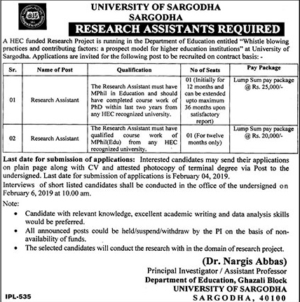 University Of Sargodha Announced Jobs in Sargodha