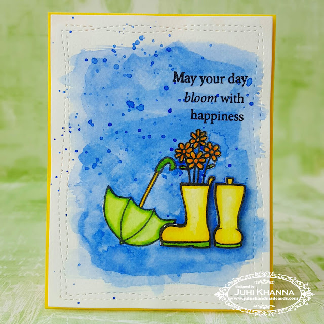 watercolor card with Jane's Doodles stamps