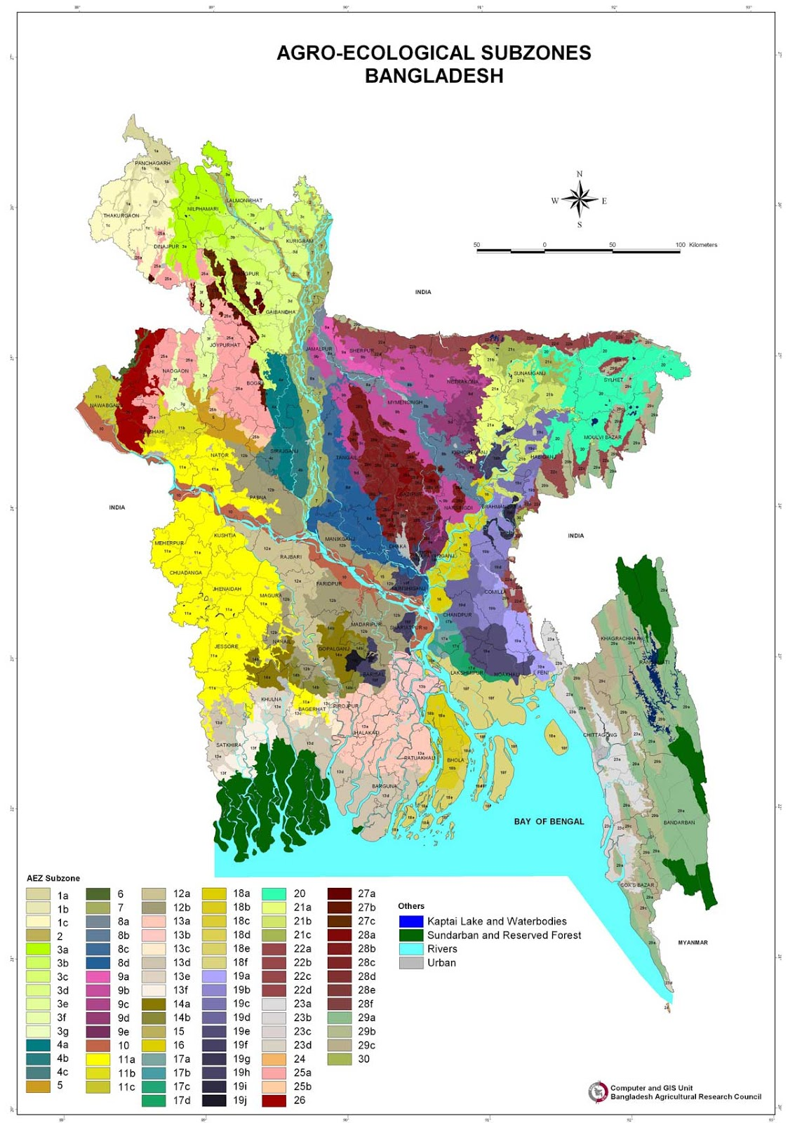 Agroecological Subzones Map Bangladesh