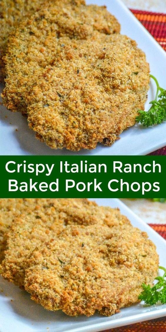 Crispy, Baked Italian Ranch Pork Chops
