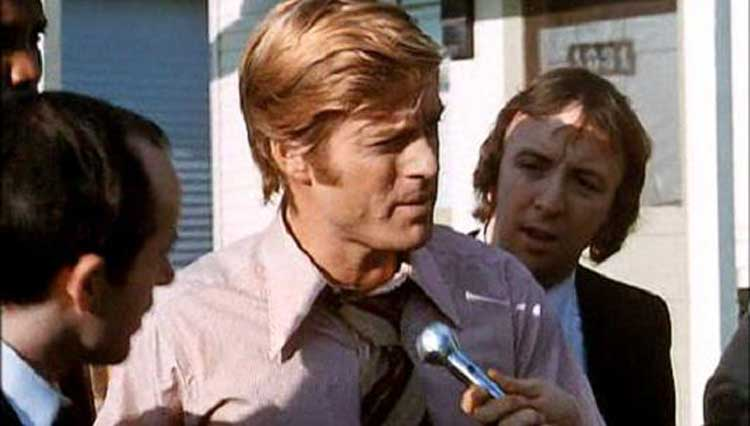 Robert Redford's Bill McKay talks to the press in The Candidate.