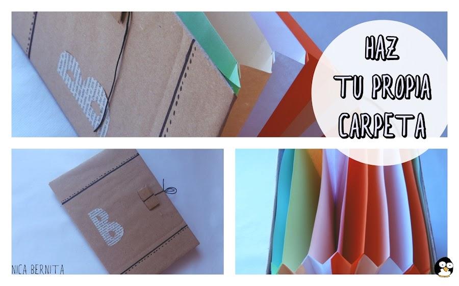 carpeta o archivador con materiales reciclados (cartón) por Nica Bernita