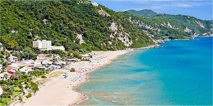 Spiaggia di Glyfada, isola di Corfù