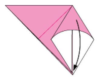 Bước 4: Sao cho đỉnh lớp giấy làm phẳng xuống dưới