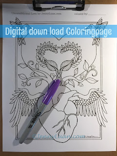 unconditional love heart angel coloring page by JennyLuanArt