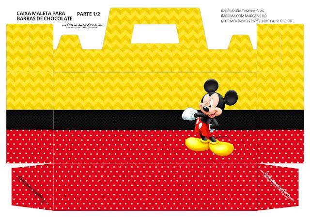Mickey en Rojo y Amarillo: Caja con Forma de Maleta para Imprimir Gratis.