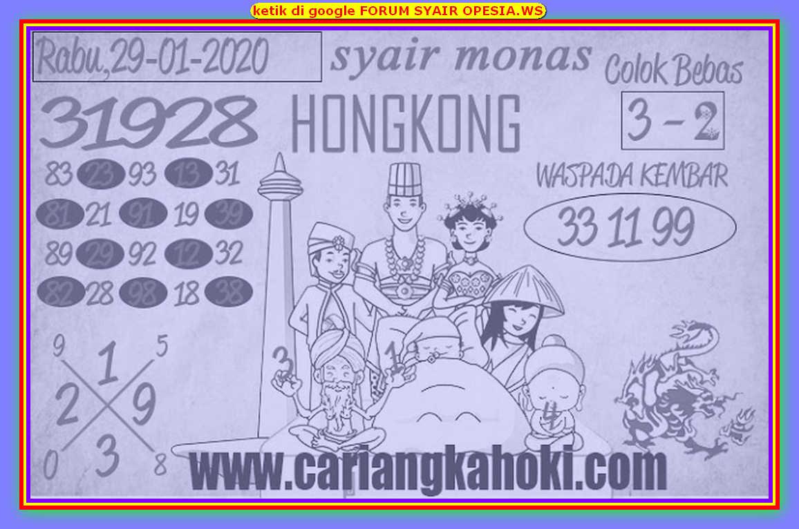 Kode syair Hongkong Rabu 29 Januari 2020 184