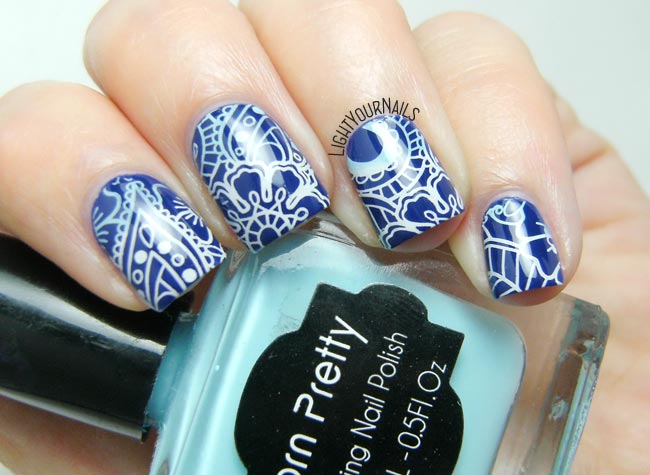 Blue flowers and paisley nail art feat. OPI... Eurso Euro and BP-L072 stamping plate