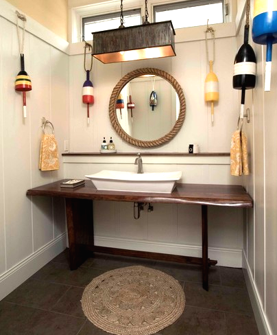 small round jute rug in bathroom