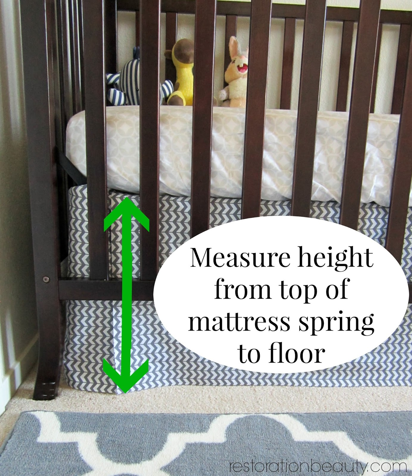 With Your Crib At It S Highest Setting Measure The Height From Top Of Mattress Spring To Floor