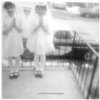 Marianne Belair and cousin Lise on their First Communion