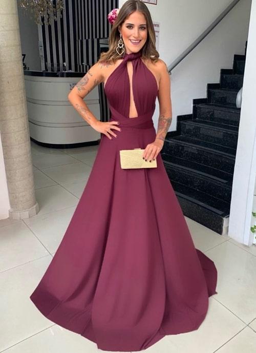 vestido longo marsala 2019