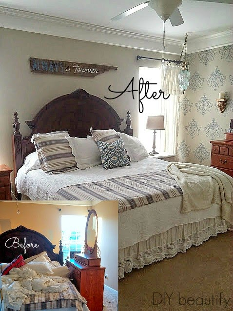 Master Makeover with Stenciled Wall