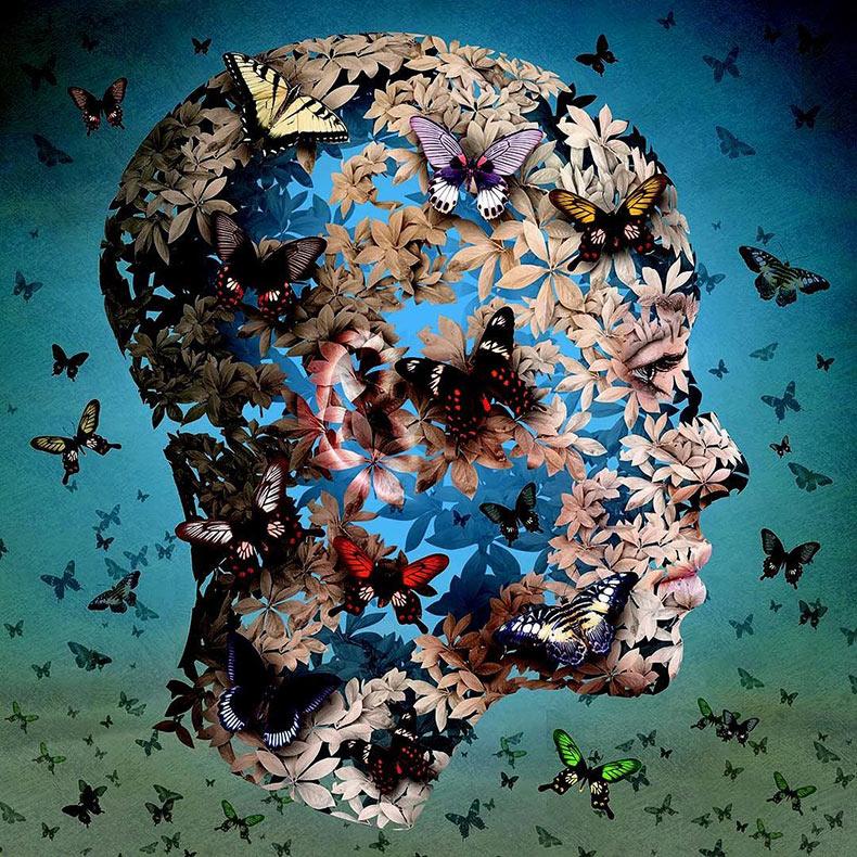 Siluetas surrealista de cabezas humanas exponen el caos natural de la mente humana