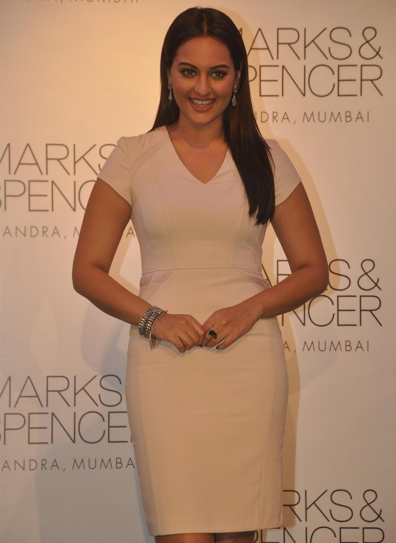 Sonakshi Sinha Legs Thighs Stills In Mini White Dress At Store Launch