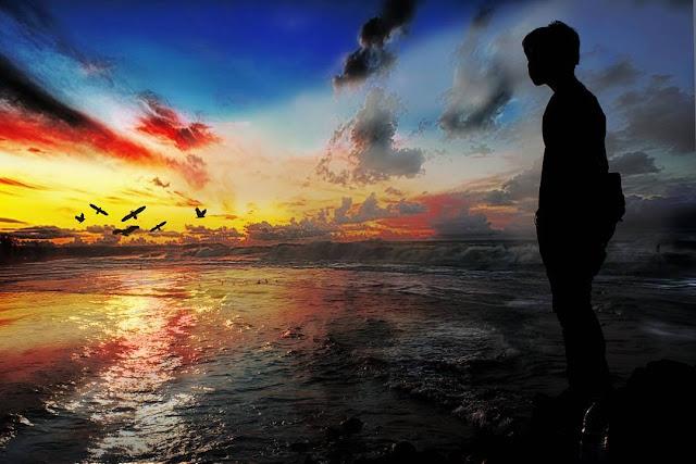 foto sunset sendiri keren di pantai pondok bali