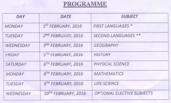 West Bengal (WB) 10th Routine - Date Sheet 2016