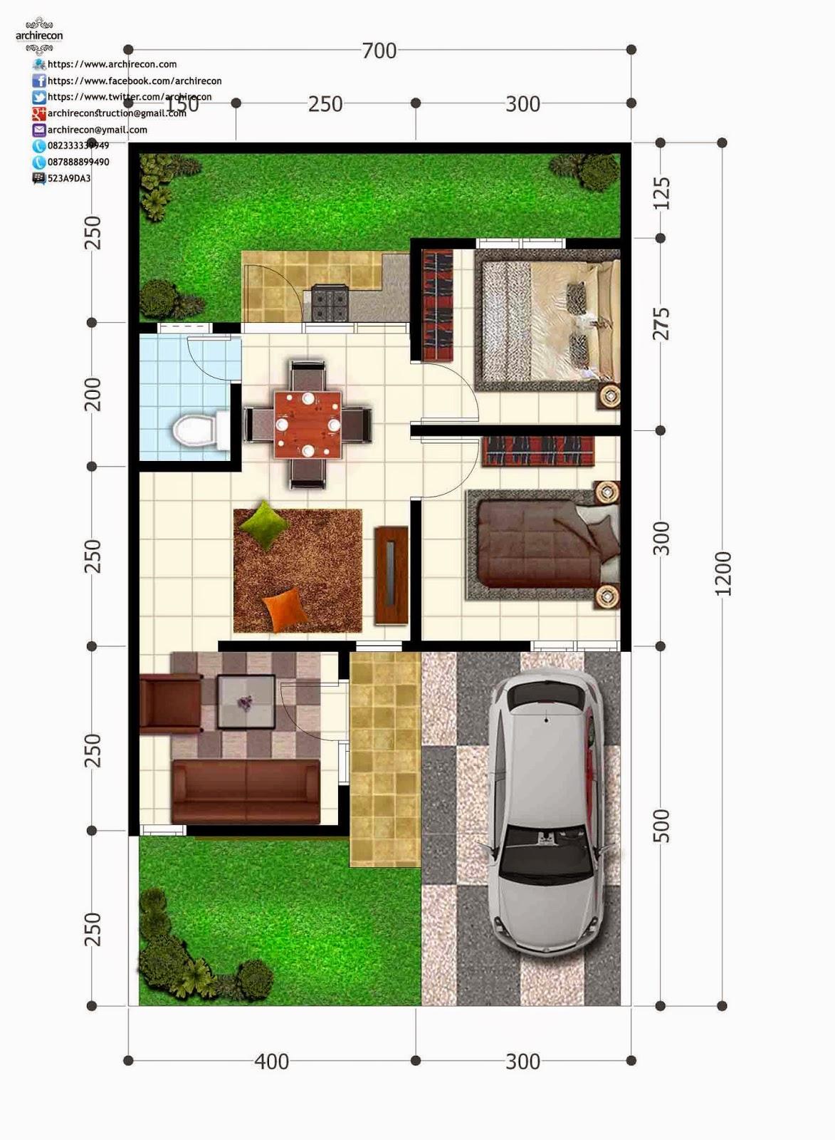 Hasil Jasa Desain Rumah Minimalis - Perumahan Green Land Villa - Denah Type 45