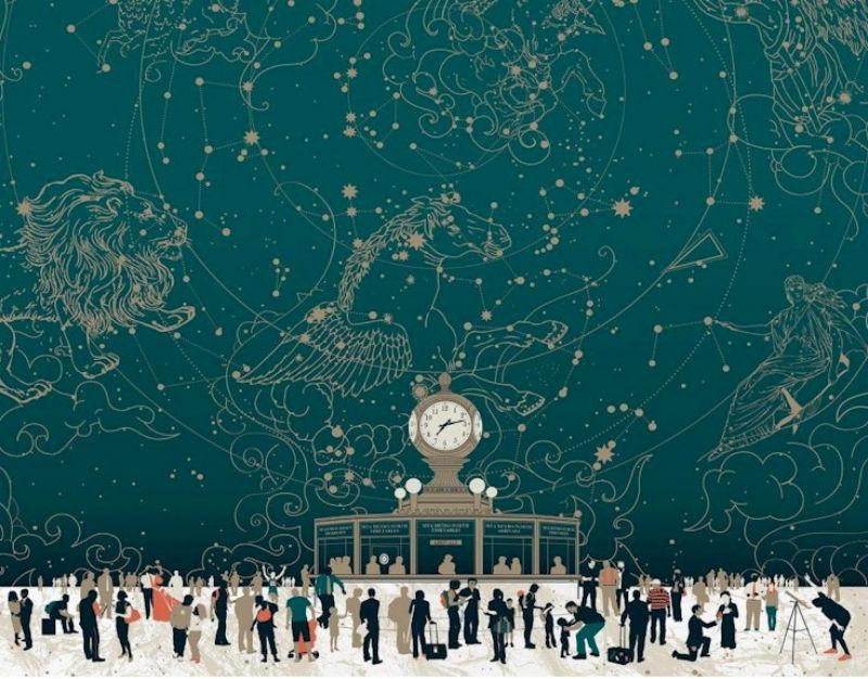 Pop Chart Lab representó  el vestíbulo principal de la Estación Central de Nueva York y las historias vitales que se producen allí en su obra Constellations