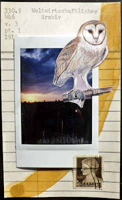 owl polaroid library card postage stamp Fluxus mail art collage