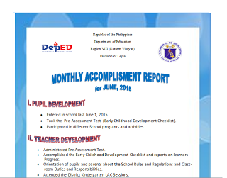 Sample Monthly Accomplishment Report (June - March)   TAGA DEPED