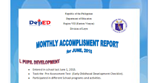 Taga Deped  Accomplishment Report Format
