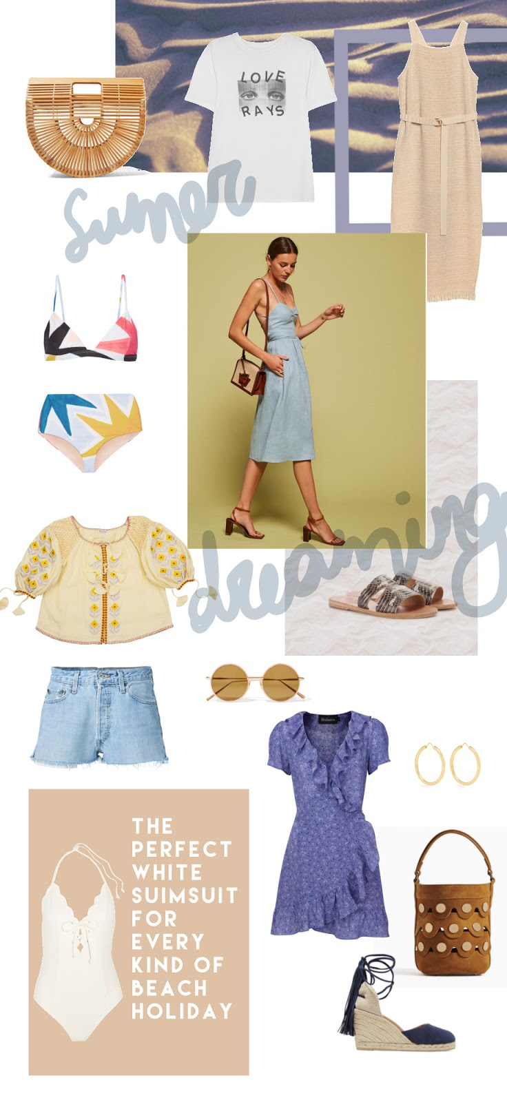 summer wishlist | high-end | luxury | dresses |denim shorts | swimsuits | blouse | sunglasses |the reformation | realisation par | cult gaia ark bag | castaner espadrilles | mara hoffman | marysia |acne studios | innika choo | pierre hardy | theodora warre | www.theblushfulhippocrene.blogspot.com