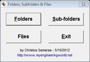 Folders, Subfolders & Files - Freeware Program