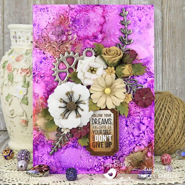 Follow Your Dreams Card with Alcohol Ink Background by Tracey Sabella for Little Birdie Crafts: #traceysabella #littlebirdiecrafts #littlebirdieonline #littlebirdieflowers #chipboard #alcoholink #yupo #yupopaper #emboss #embossing #mixedmedia #alcoholinkcard #alcoholinkcards #diyalcoholink #diycard #diycards #diycrafts #diycraft #spellbinders #helmar