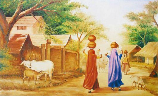 Indian Art Paintings: Rajasthani Girls