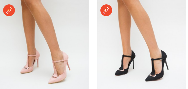 Pantofi eleganti ieftini cu toc negri, roz din piele intoarsa frumosi