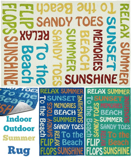 Beach Word Rug Outdoor