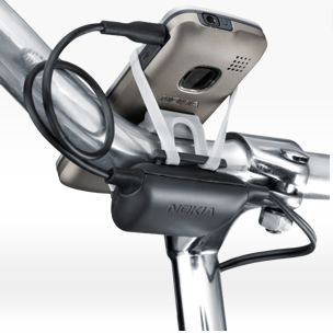 Image showing Nokia Bicycle Charger Kit's Charger and Rubberised Phone Holder