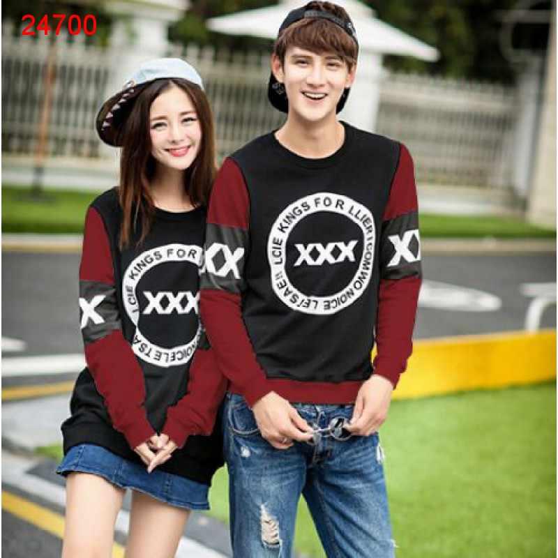 Jual Sweater Couple Sweater Triple X Black Maroon - 24700