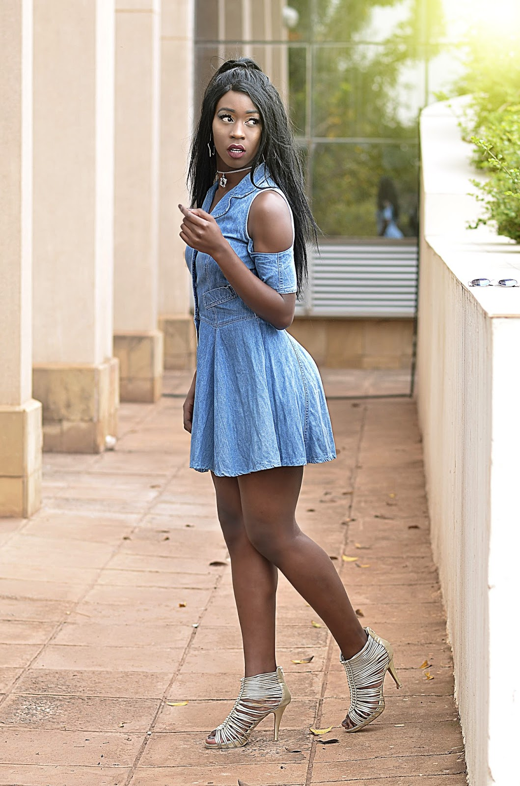 style with Ezil, cold shoulder dress, denim dress, date outfit, simple outfit, what to wear, outfit ideas, our style kenya, fashion, chic outfit, Kenyan fashion blogger, African fashion blogger