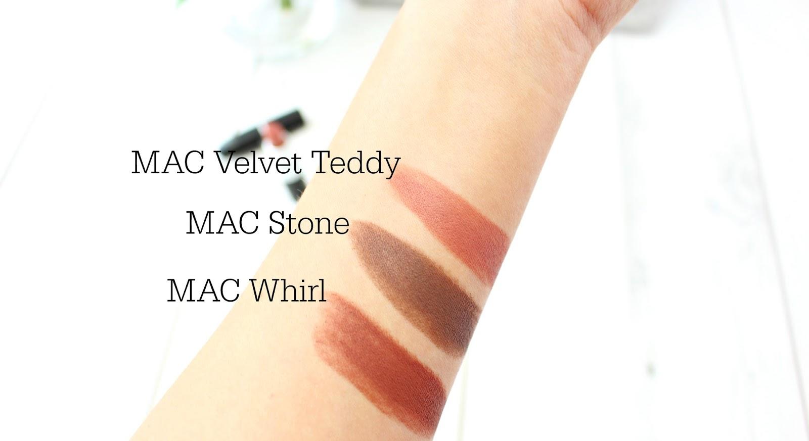 MAC Stone, Velvet Teddy & Whirl
