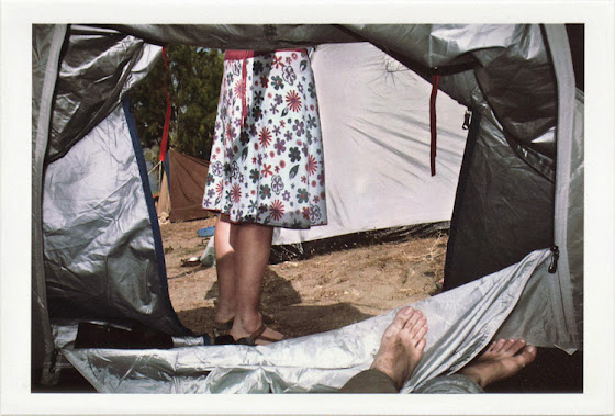 dirty photos - on the island of - photo of camping tent and girl's legs