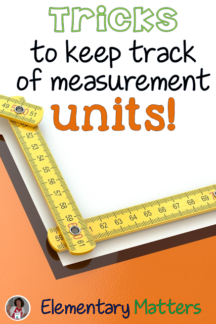 Tricks to Keep Track of Measurement Units: here are some ways to help the kiddos remember some measurement units, and they don't have to carry around a ruler!
