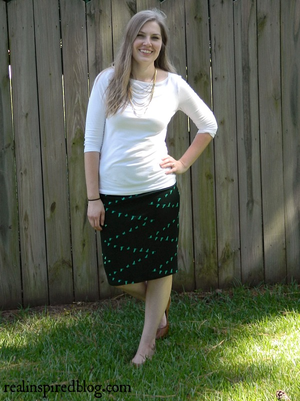 Real Style: Sunday Church. Comfy church outfit with white boatneck shirt, green stretchy pencil skirt with birds, and vintage jewelry, gold necklace, earrings, brown flats.