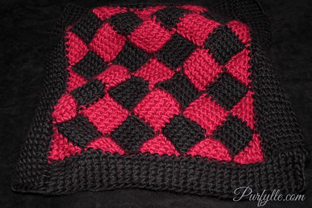 Tunisian crochet entrelac square