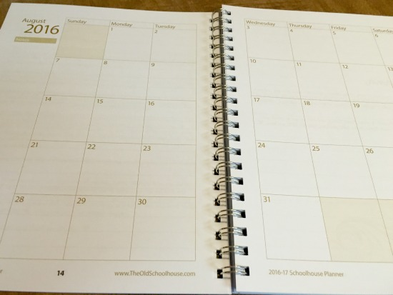 Monthly calendar in homeschool planner