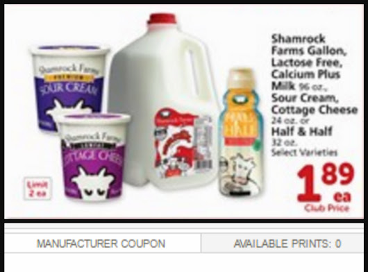 Shamrock Farms Gallon Milk, Sour Cream & More only $1.39!