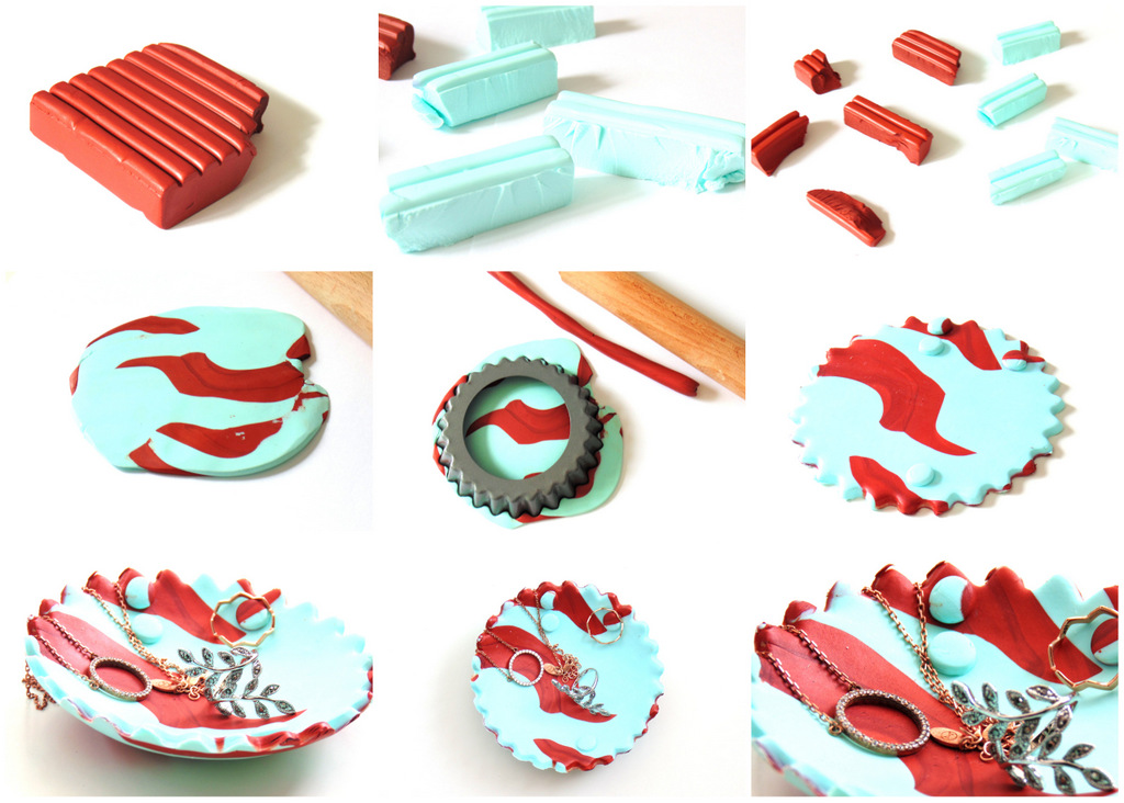 DIY Marbled Clay Jewellery Holder